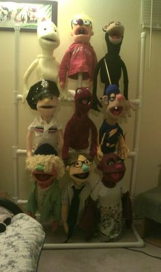 Technically I didn't make two of the puppets on this rack. The one on the top left was made by my lovely wife and the top middle puppet is my Muppet Whatnot from FAO Schwarz. This picture was more just to show the rack that I made out of PVC. - See this image on Photobucket.