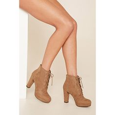 Forever21 Faux Suede Platform Ankle Boot ($28) ❤ liked on Polyvore featuring shoes, boots, ankle booties, taupe, faux suede lace-up booties, lace up booties, lace up ankle boots, taupe ankle boots and high heel booties