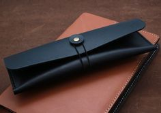 Hand-stitched leather pencil case/ multi-pouch in Vegetable Tanned BLACK