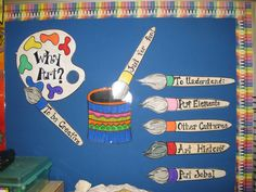 """Some of the topics of our art curriculum, the """"building blocks"""" of good art: color families, the art elements This is where each gr. Art Classroom Decor, Classroom Posters, Classroom Ideas, Classroom Rules, Classroom Design, Classroom Inspiration, School Classroom, Art Bulletin Boards, Bullentin Boards"""