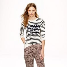 """J. Crew Cheers Striped Sweatshirt Based off a vintage sweatshirt from a J. Crew designer's closet, this version features dropped shoulders, slim sleeves and an easy fit. It will also teach you how to say """"cheers"""" in three languages. Cotton blend. {factory} Slightly relaxed fit. Length {34"""".} J. Crew Tops Sweatshirts & Hoodies"""