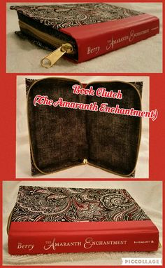 Book Clutch Handmade (Titled: The Amaranth Enchantment) Red Spine with Black, White & Red Paisley Pattern, Zips Closed.
