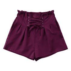 Ruffle Lace-up Shorts ($30) ❤ liked on Polyvore featuring shorts, purple, zaful, frill shorts, flounce shorts, lace up shorts, red shorts and ruffle trim shorts