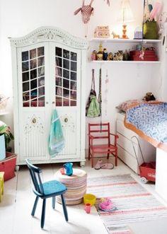 vintage cabinet in kids room