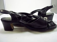 Black Leather Criss Cross Slingbacks Size 7 by HouseofCircumstance, $24.00