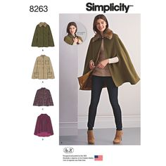 Misses Capes and Capelets Simplicity Sewing Pattern 8263. Size XS-XL.