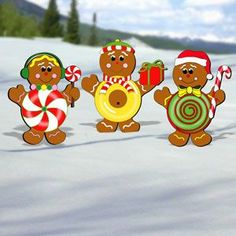 "Gingerbread Candy Kids Pattern:  These tasty morcels will brighten up any yard this holiday season! Tallest is 23""H x 20""W.  Pattern #2021  $11.95   ( crafting, crafts, woodcraft, pattern, woodworking, yard art ) Pattern by Sherwood Creations"