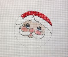 Fat Jolly Santa Face Christmas  Handpainted Needlepoint Canvas #Unbranded