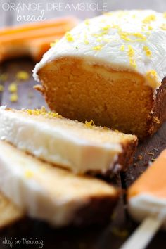 Could You Eat Pizza With Sort Two Diabetic Issues? Orange Dreamsicle Bread From .This Bread Is Heavenly Delicious Orange Flavor Paired With A Cream Cheese Filling And Creamy Frosting-It Is Truly A Must Make Recipe Bread Recipes, Baking Recipes, Cake Recipes, Cleaning Recipes, Just Desserts, Delicious Desserts, Yummy Food, Health Desserts, Biscotti