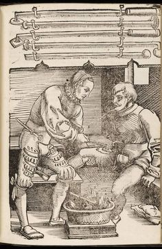 1530 woodcut From: Feldtbuch der Wundartzney, newlich getruckt und gebessert / By: Hans von Gersdorff Thigh Cauterisation. The tool looks like a miniature iron that he had heated in the fire. Medical Art, Medical History, Wellcome Collection, Landsknecht, Vintage Medical, Medieval Life, Feeling Sick, Historical Pictures, Science