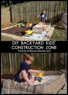 Make your own backyard kids' construction zone. Easy weekend diy project to make your kids' play area way more fun.