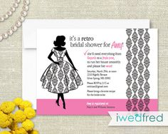 9e91e12eba7 Perfect Housewife Bridal Shower Invitations by iwedfred on Etsy Pink Wedding  Invitations
