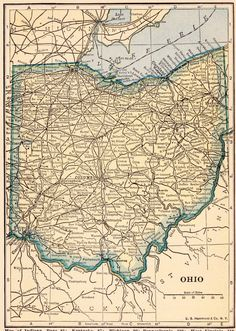 Use coupon code PINTEREST to save 10% off of your purchase! Vintage 1923 OHIO US Map 1923 Original Print Neat by UpcycleFarmer