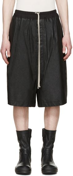 RICK OWENS Black Matte Leather Shorts. #rickowens #cloth #shorts