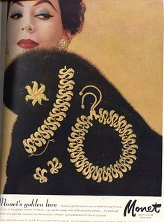 Vintage Jewelry Magazine ads for Marvella, Monet, Mazer, Mariam Haskell and Napier jewelry. Jewellery Advertising, Jewelry Ads, Jewelry Watches, Jewelry Findings, Vintage Costume Jewelry, Vintage Costumes, Vintage Advertisements, Vintage Ads, Vintage Glamour