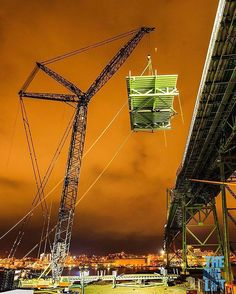 From @biglifthfx  A crane lifts a new segment to the bridge deck to be installed. (Photo courtesy of Dale Wilson photography). #macdonaldbridge #ironworkers #Halifax #biglifthfx #dartmouth #engineering #engineeringfeat #historyinthemaking #halifaxnoise #canada