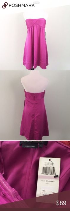 """BCBG MAXAZRIA Magenta pink strapless Formal Dress Brand new with tags from Lord & Taylor. Strapless with pleating on bust. Length 27"""". Chest 16.5"""". Fully lined. Back zipper. Cups are lightly padded and front has boning. 100% polyester, looks like satin. Perfect for Prom, wedding , party etc. BCBGMaxAzria Dresses Strapless"""
