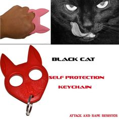 Black Cat Self Defense Keychain -Red CAT-RD