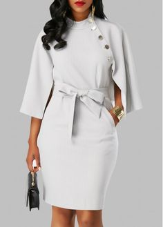 Cape Sleeve Button Embellished Belted Dress - Trend Way Dress Women's Fashion Dresses, Sexy Dresses, Casual Dresses, Dresses For Work, Work Outfits, Cheap Dresses, Woman Dresses, Dresses Dresses, White Outfits