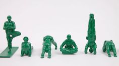 San Francisco designer Dan Abramson is aiming to make Army men a little more peaceful. Abramson, founder of Brogamats (home of the Burrito Yoga Bag, which, yes, looks exactly like a large burrito) recently embarked upon a Kickstarter campaign to create Yoga Joes—GI Joe-like figures doing yoga instead of shooting at things.