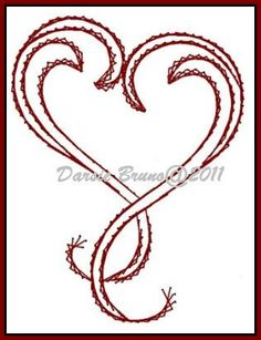 Deco Heart Valentine Embroidery Pattern for Greeting Cards.