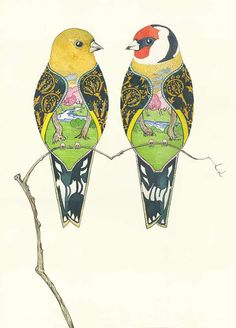 PAGAN WICCAN FINE ART GREETING CARDS 2 Turtle Doves BIRTHDAY Birds DM COLLECTION