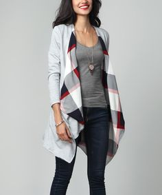 Gray French Terry & Plaid Lined Drape Cardigan