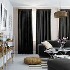 Dark Grey Curtains Stunning Shades of Light & Dark Grey Curtains Lounge Curtains, Gold Curtains, Curtains With Blinds, Curtains Living, Bedroom Green, Bedroom Decor, Master Bedroom, Charcoal Bedroom, Interior Design Lounge