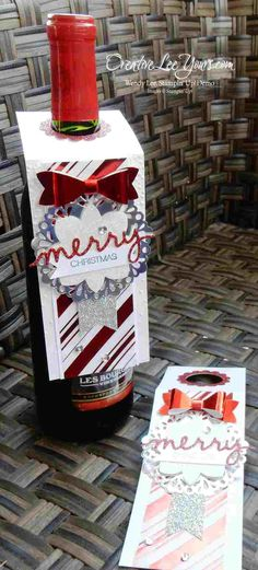 Festive Bottle Tag by Wendy Lee, Stampin' Up, Christmas, Holly Jolly Greetings - SU Bottle Label, Wine Bottle Tags, Wine Bottle Covers, Wine Tags, Wine Bottle Crafts, Stampin Up, Handmade Gift Tags, Handmade Crafts, Diy Crafts
