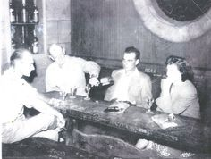 Rudy Fischer, Doug Cartledge, and Belle Cartledge inside Lonz Winery, 1950.  Mary Cartledgehayes