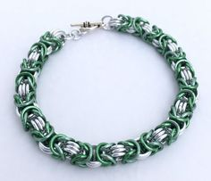 Green and Silver Anodised Aluminium Byzantine Chainmaille Bracelet