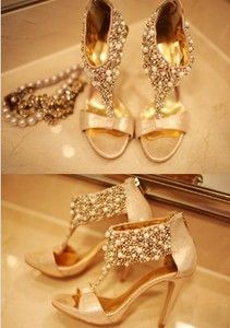 $388.69 Upscale ladies custom shoes Korean Shopping sexy goddess charming party banquet filling luxury pearl high heels
