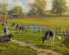 I learned much while painting this-particularly in orchestrating the placement of the cows to form an interesting focal path. More than 3 times I painted a cow in only to scrape her out & move her to a different location. While the random placement was what I saw in front of me it didn't contribute to the visual flow and the feeling I was after. Grouping & overlapping them from the lower right hand corner to the upper left, along the fence line gently leads our eye back to the quiet…