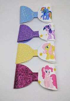 Girls 3.5 inch hair bows clip bow my little pony character glitter boutique MLP