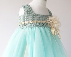 Aqua Blue and Cream Empire Waist Baby Tulle Dress with Stretch Crochet Top.Tulle dress  for girls with lacy crochet bodice.