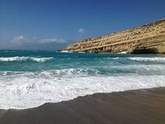 Παραλία Ματάλων (Matala Beach) ve městě Mátala, Ηράκλειο Crete, Sunset, Beach, Water, Outdoor, Gripe Water, Outdoors, The Beach, Beaches