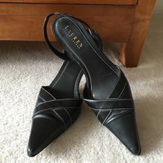 Ralph Lauren Sling-Back Heels Gently worn, and in great shape. Sling-back style with contrast stitch detail. Leather upper and leather sole. Ralph Lauren Shoes Heels