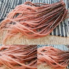 Rose Gold Hair Dye, Dyed Hair Ombre, Dyed Hair Purple, Dyed Hair Pastel, Dyed Blonde Hair, Rose Hair, Dyed Dreads, Pink Dreads, Braided Dreadlocks