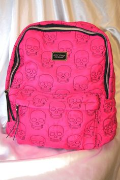 BETSEY JOHNSON SKULL BACKPACK PINKSCHOOL BOOKBAG TRAVEL TOTE PURSE CARRY ON  #BETSEYJOHNSON #SKULLBACKPACK