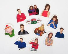 A fun sticker set paying tribute to your favorite friends Chandler, Ross, Monica, Rachel and Joey (I even sneaked in a Janice! Friends Scenes, Friends Tv Show, Tumblr Stickers, Phone Stickers, Red Bubble Stickers, Cute Stickers, Wallpaper Stickers, Waterproof Stickers, Cute Pins