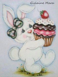 Coelhinha com cupcake - inspiração :):