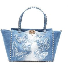 VALENTINO GARAVANI 'Rockstud' Embroidered Denim Tote Bag ($2,075) ❤ liked on Polyvore featuring bags, handbags, tote bags, embroidered purse, tote handbags, blue totes, valentino tote bag and valentino purses