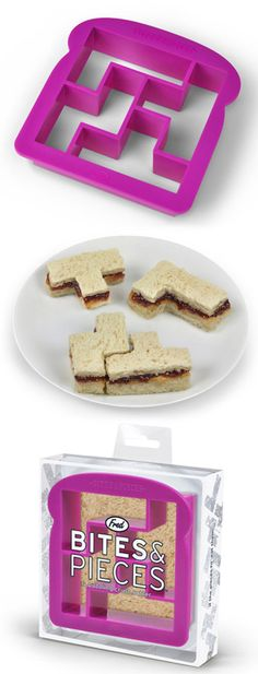 Sandwich Cutter – Tetris Style::  I think that my adult self thinks this is way cooler than my kid self would have thought!