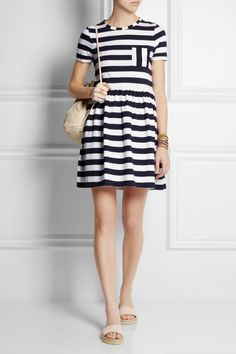 Striped organic cotton-jersey mini dress | NET-A-PORTER