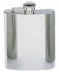 Stainless steel flask by ANS. $15.00. Plain Flasks - Stainless Steel 8 oz., steel collar.