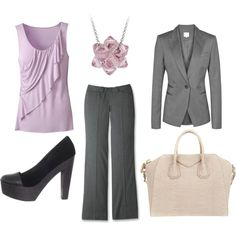 """""""Light Pink and Grey Glamous Business Outfit"""" by marissa-anne-weddle on Polyvore"""
