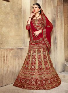 Enchanting Patch Border Work Red A Line Lehenga Choli