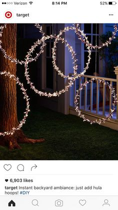 Instant backyard ambiance: just add hula hoops! Recreate this magical scene in your own yard by wrapping string lights around a few hula hoops and hanging them in a tree—and don't forget the exte Diy Outdoor Party, Outdoor Party Lighting, String Lights Outdoor, Wedding Lighting, Diy Party Lighting Ideas, Outdoor Parties, Backyard Party Decorations, Light Decorations, Wedding Decorations