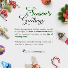 It's time for our holiday break! 🤩 We extend our heartfelt greetings to our valued customers for the continuous support throughout this year. 💙 We wish everyone a wonderful Festive Season. Sticker Printer, Custom Sticker Printing, Personalized Stickers, Custom Stickers, Excited To See You, Holiday Break, Happy Holidays, Announcement, Merry Christmas