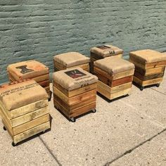 Reclaimed rolling crate stools - pallet wood storage, burlap cushions